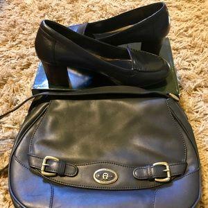 Navy blue leather Lauren Ralph Lauren block heels